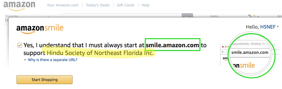 Amazon Smile | Select Hindu Society of Northeast Florida Inc.